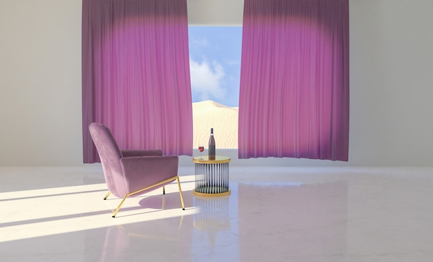 Sala com sofá e mesa com garrafa de vinho e janela com paisagem desértica atrás das cortinas