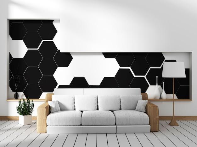 Sala com sofá e parede em azulejo hexagonal preto. renderização 3d
