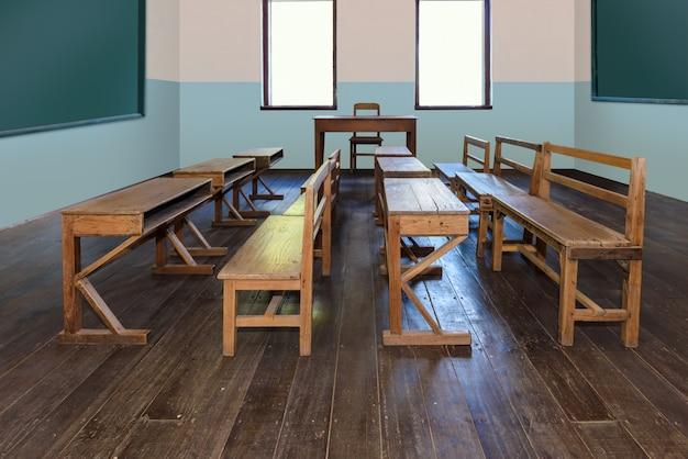 Sala de aula antiga na escola com fileiras de mesas de madeira vazias