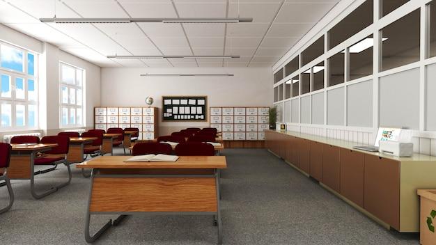 Sala de aula com mesa, cadeiras, painel e armário da escola