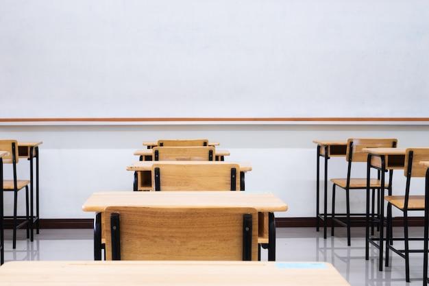 Sala de aula da escola vazia com mesas cadeira de madeira, placa verde e quadro branco no ensino médio