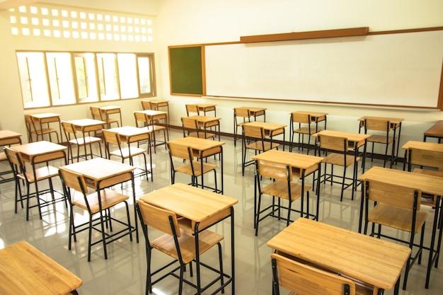 Sala de aula ou escola sala de aula vazia com mesas e cadeira de madeira de ferro no ensino médio da tailândia