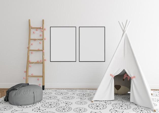 Sala de berçário escandinavo com quadros duplos