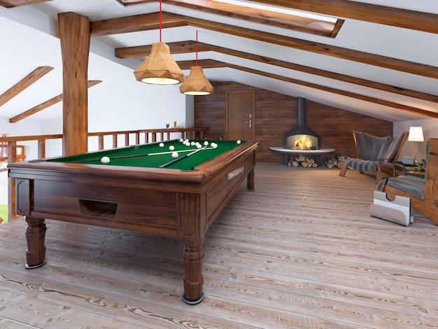 Sala de bilhar com duas cadeiras confortáveis e lareira em estilo loft