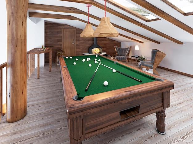 Sala de bilhar no sótão com área de estar e lareira