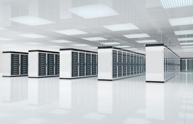 Sala de centro de servidores brancos com computadores e sistemas de armazenamento