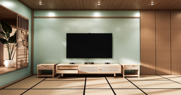Sala de cinema com design minimalista em estilo japonês, sala mint