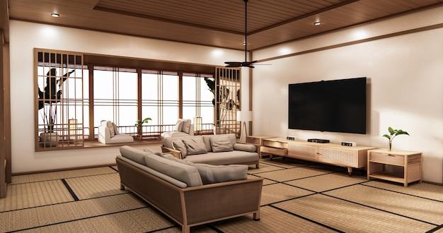 Sala de cinema com design minimalista em estilo japonês