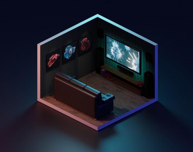 Sala de cinema da rendição 3d isométrica, ilustração 3d.
