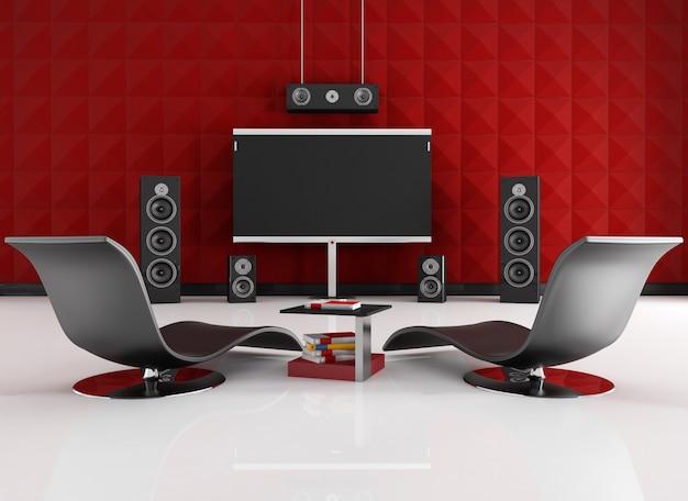 Sala de cinema em casa com painel acústico vermelho - renderização