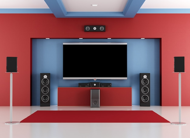 Sala de cinema em casa vermelha e azul
