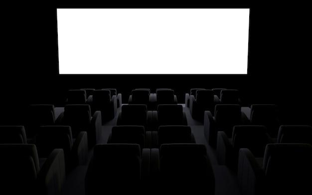 Sala de cinema escura com capa de apresentação cinematográfica em tela branca vazia