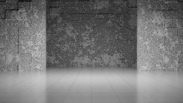 Sala de concreto cinza vazia com parede abstrack