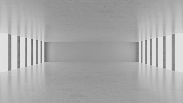 Sala de concreto cinza vazia
