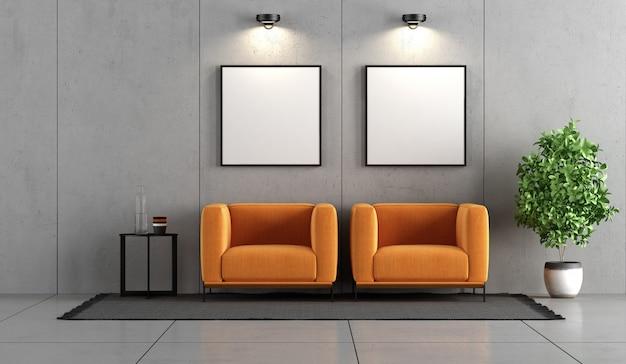 Sala de concreto com duas poltronas laranja