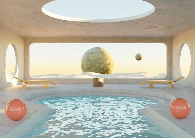 Sala de concreto minimalista com piscina no planeta deserto. arquitetura futurista. renderização 3d