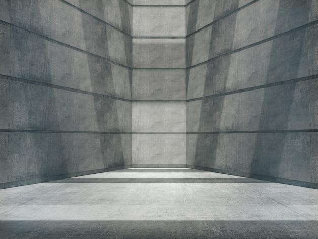 Sala de concreto vazia e luzes laterais