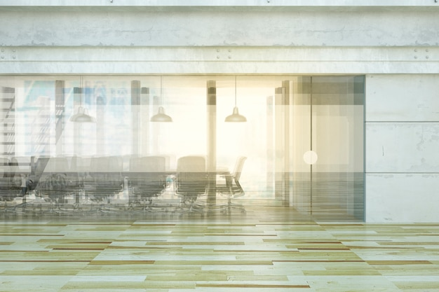 Sala de conferências com reflexões de vidro, conceito do negócio