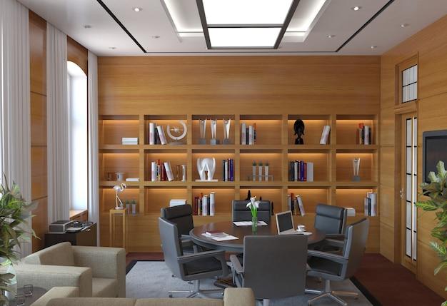 Sala de conferências, sala de reuniões, visualização de interiores, ilustração 3d
