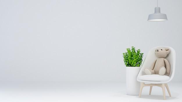 Sala de criança ou sala de estar em fundo branco - renderização em 3d