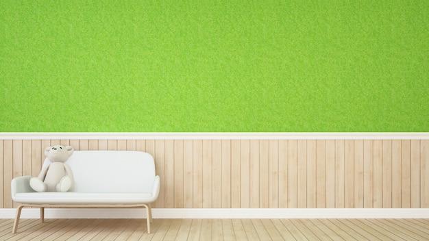 Sala de criança ou sala de estar na cafeteria - renderização em 3d