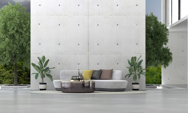 Sala de design de interiores moderna e sala de estar e parede de concreto