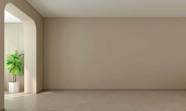 Sala de design de interiores moderna e sala de estar vazia e parede amarela