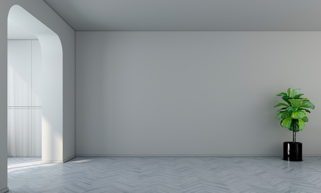Sala de design de interiores moderna e sala de estar vazia e parede branca