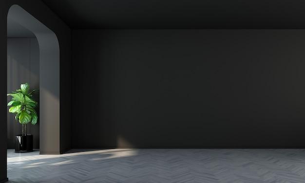 Sala de design de interiores moderna e sala de estar vazia e parede preta