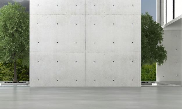 Sala de design de interiores moderna, sala de estar vazia e parede de concreto