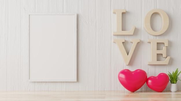 Sala de dia dos namorados com poster na parede branca.