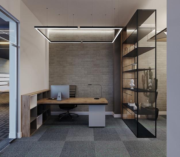 Sala de escritório moderna com escrivaninha e prateleira, renderização 3d