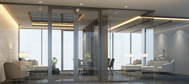 Sala de espera com design interior luxuoso e moderno com piso de mármore e conjunto de sofás renderização em 3d