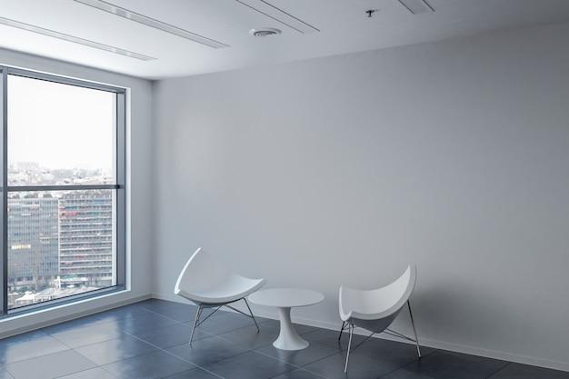 Sala de espera com mesa e cadeiras