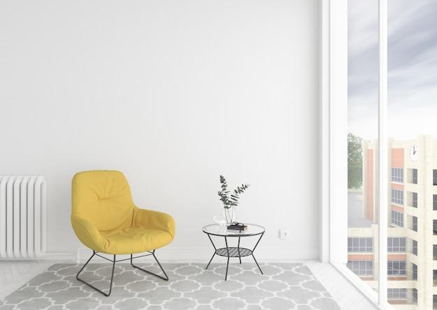 Sala de espera interior escandinavo com moldura em branco vazia ou quadro de obras de arte