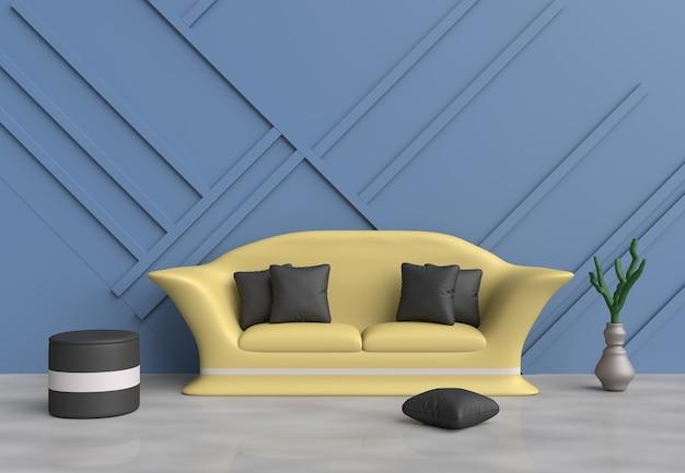 Sala de estar azul são decoração com sofá amarelo, almofadas pretas, cadeira cinza, parede
