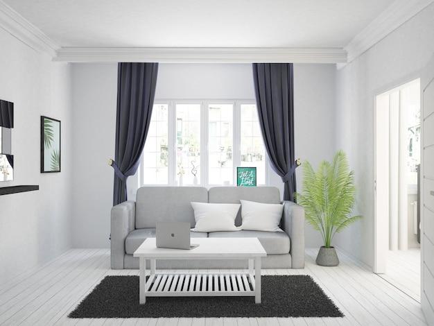 Sala de estar branca com cortinas de veludo escuro e sofá cinza