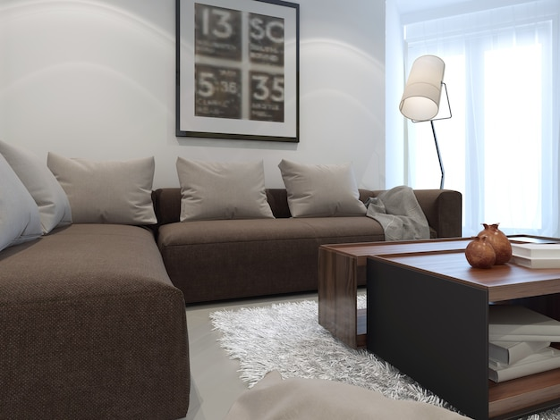 Sala de estar branca do hotel com mobília marrom