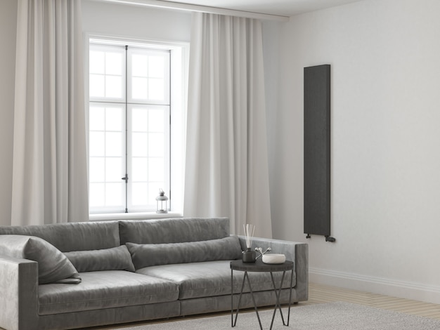 Sala de estar branca elegante e elegante com sofá de veludo e cortinas brancas