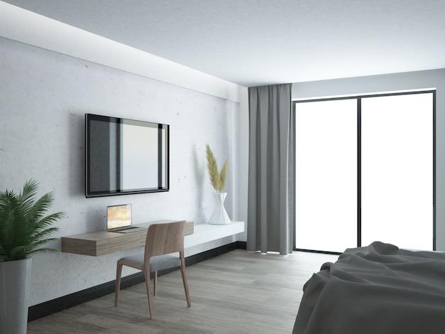 Sala de estar branca luxuosa e elegante
