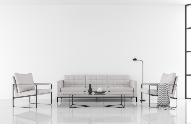 Sala de estar branca moderna de estilo minimalista em 3d renderdecorate com móveis de tecido branco