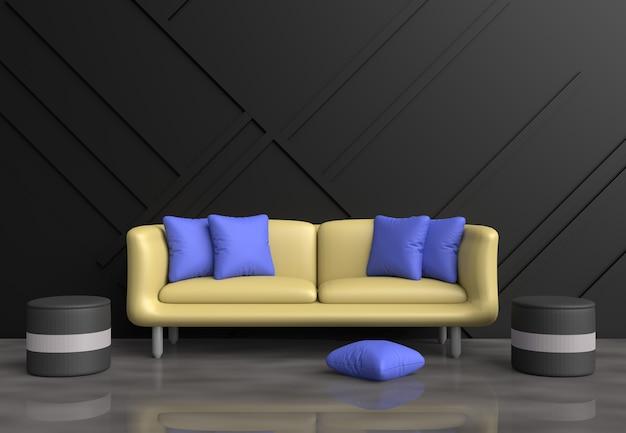 Sala de estar cinza são decoração com sofá amarelo, almofadas azuis, cadeira cinza, parede preta.
