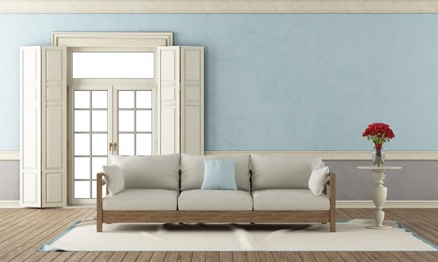 Sala de estar clássica azul e cinza
