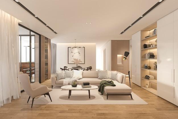 Sala de estar clássica de madeira de renderização 3d com telha de mármore e estante