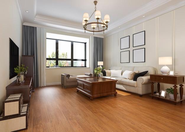 Sala de estar clássica moderna com lustre