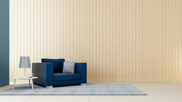 Sala de estar clássica poltrona azul / renderização em 3d