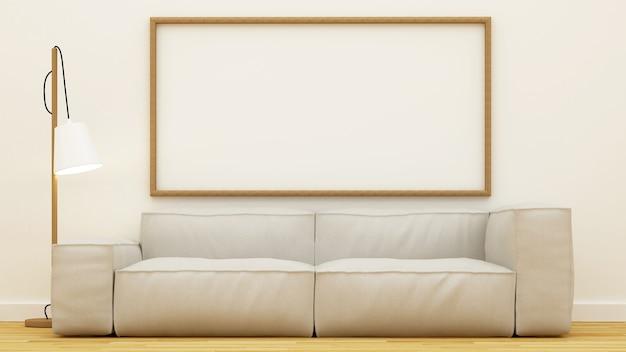Sala de estar clean design-3d rendering
