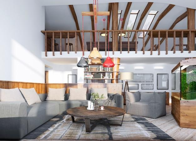 Sala de estar com aquário e segundo nível com sala de bilhar no loft