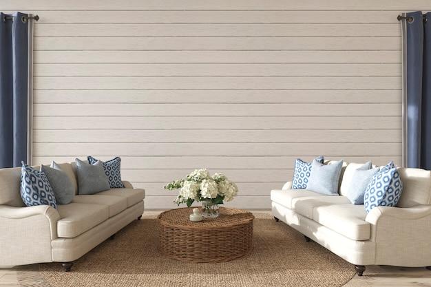 Sala de estar com design costeiro no interior da casa ilustração 3d render do estilo hampton
