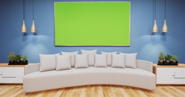 Sala de estar com greenboard na parede